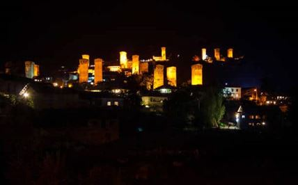 Gold of Svaneti, Illuminated towers in Mestia